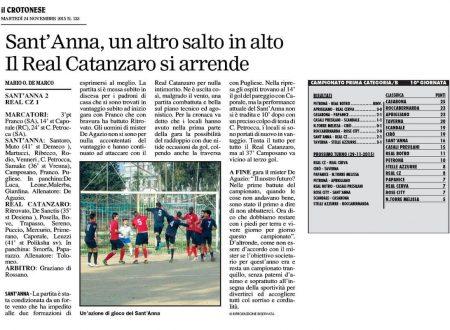 Sant'Anna,vince sul Real Catanzaro – Il Crotonese del 24 nov 2015