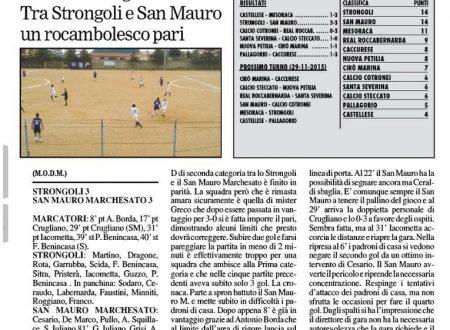 Il San Mauro in vantaggio per 3 gol si fa raggiungere e pareggia a Strongoli