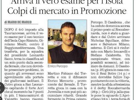 CROTONE, Calcio Dilettantistico (Quotidiano del Sud 5 dicembre 2015)