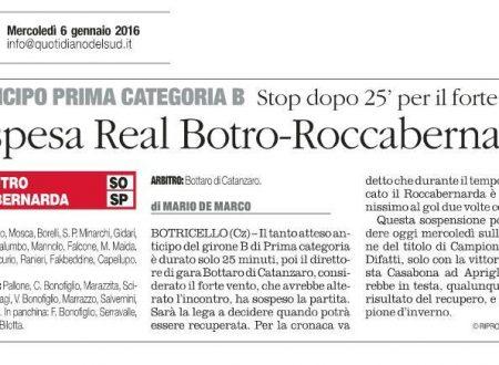 Il vento ferma la partita Real Botro – Roccabernarda