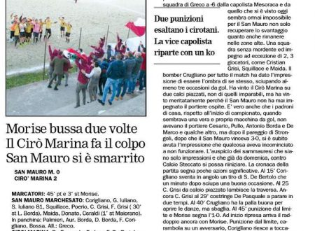 San Mauro M. 0  Cirò Marina 2 il Crotonese di martedì 12 gennaio 2016