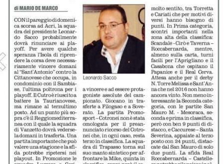 Calcio dilettantistico crotonese (Quotidiano del Sud 6 febbario 2016)