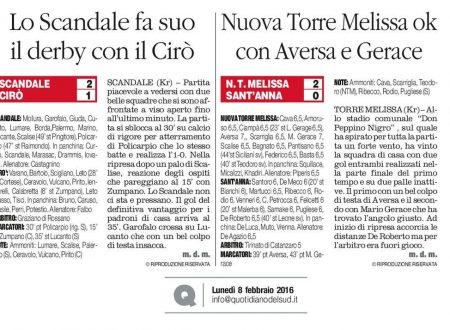 Prima categoria. Lo Scandale batte il Cirò 2-1 e la N.Torre Melissa il Sant'Anna 2-0