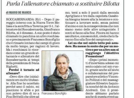 Parla il neo tecnico del Roccabernarda (Quotidiano del Sud 9 marzo 2016)