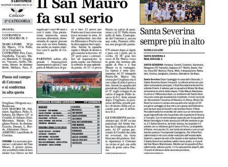 SECONDA CATEGORIA. Cotronei 0 San Mauro Marchesato 3 (Il Crotonese 8 marzo 2016)