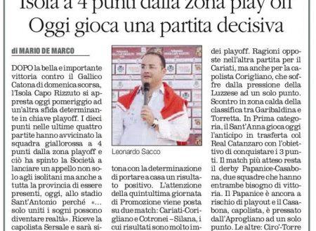 Importantissimo turno per il calcio dilettantistico crotonese (Il Quotidiano del Sud 12 marzo 2016)