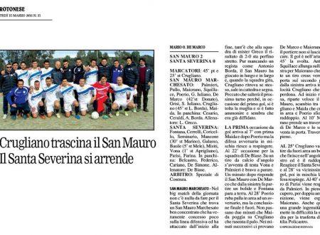 Un San Mauro M. brillante vince e consolida il secondo posto.
