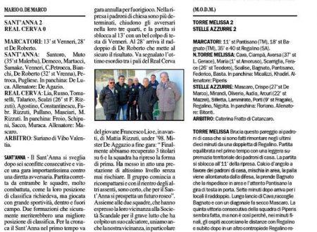 Sant'Anna 2 Real Cerva 0 – Torre Melissa 2 Stelle Azzurre 2 (il Crotonese 8 marzo 2016)