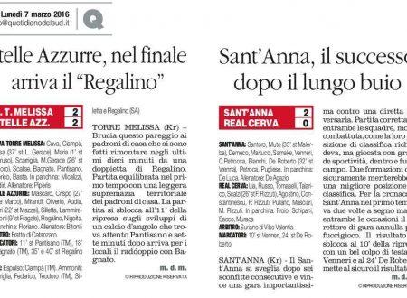 N. Torre Melissa 2 Stelle Azzurre 2 * Sant'Anna 2 Real Cerva 0  Domenica 6 marzo 2016
