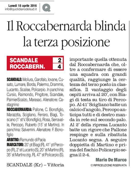 Scandale vs Roccabernarda Q. 18 aprile 2016