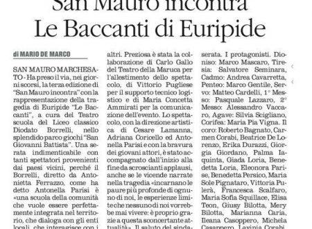 """SAN MAURO MARCHESATO: Inizia con le Baccanti di Euripide la terza edizione di """"San Mauro Incontra"""""""