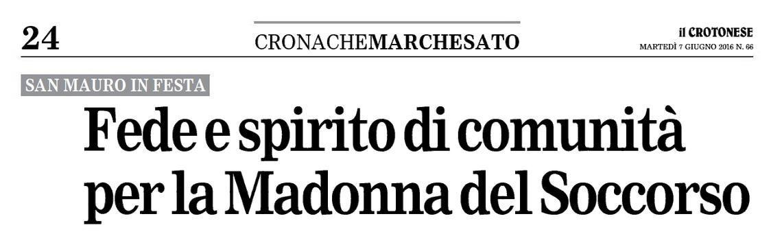 Titolo Crotonese 7 giugno 2016