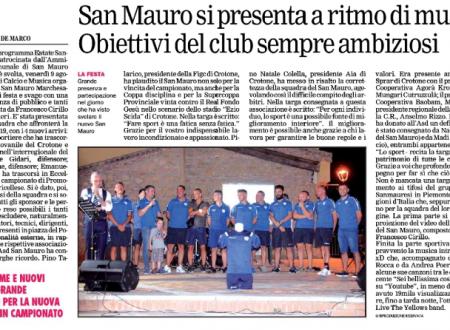 ASD San Mauro si presenta a ritmo di musica